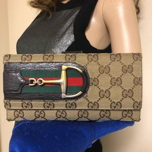 Gucci Horsebit Hasler GG CANVAS Continental Wallet